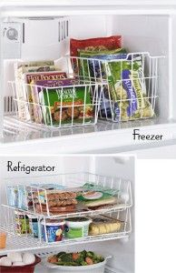 I would also use the fridge containers in the freezer but turn them upside town for easy access to those veggie bags and boxed food on top