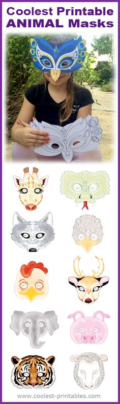 Great for Last-Minute Halloween costumes, Animal… Coolest Printable Animal Masks. Great for Last-Minute Halloween costumes, Animal parties or afternoon fun. Party Animals, Animal Party, Costume Halloween, Last Minute Halloween Costumes, Halloween Masks, Halloween Kids, Projects For Kids, Diy For Kids, Crafts For Kids