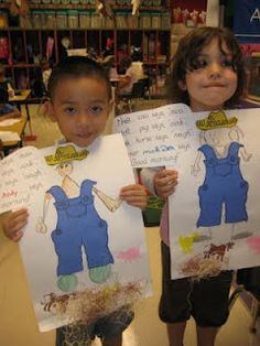 """We began our unit by making farmer self-portraits. The caption in the corner says, """"The pig says oink, the cow says moo, the horse says neigh, the farmer says, """"Good Morning."""""""