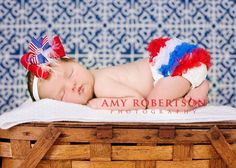 Ready to ship Patriotic 4th of July -Chiffon Ruffle Bum Baby Bloomers Diaper cover Bloomer Newborn Toddlers Photo. $9.95, via Etsy.