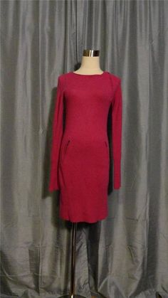 BCBG MAXAZRIA THERA Mulberry Zipper 100% Cashmere Knit Sweater Dress Size XS #BCBGMAXAZRIA #SweaterDress