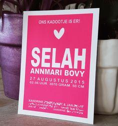 Letterpress geboortekaartje – Selah
