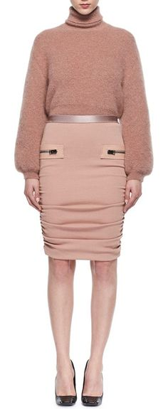 Leather-Trim Shirred Pencil Skirt by Tom Ford. TOM FORD shirred pencil skirt with leather trim. Elasticized waist. Side zip details. Fitted silhouette. Virgin wool. Lining, silk/spandex. Trim, lambskin. Made in Italy. #tomford #skirts