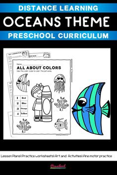 This Oceans Preschool packet is a wonderful way for your preschool or pre-k kids to work on basic literacy and math and fine motor skills. These no-prep printables are great for distance learning or in class centers and stations. Preschool Curriculum, Preschool Printables, Preschool Worksheets, Preschool Learning, Homeschool, Teaching, Everything Preschool, Toddler Age, Ocean Themes