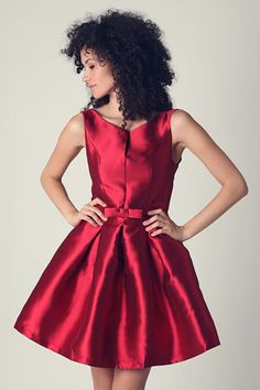 Maroon Bow Waist Skater Dress