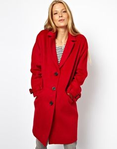 Image 1 ofASOS Limited Edition Red Mohair Coat
