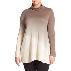 Marina Rinaldi, Plus Size Alto Ombre Silk/Cashmere Sweater (869 CAD) ❤ liked on Polyvore featuring tops, sweaters, apparel & accessories, plus size, womens plus sweaters, plus size cashmere sweaters, plus size pullover sweaters, pullover sweater and silk turtleneck