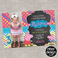 Peppa Pig Birthday Invitation- Printable Digital file