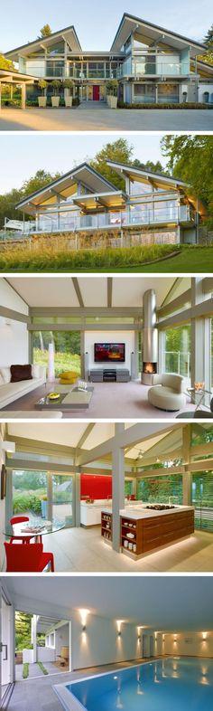 Luxus-Villa als Fachwerkhaus Design modern mit Glas-Architektur - Stadtvilla HUF Haus Art 6-9 Holzhaus Fertighaus - HausbauDirekt.de