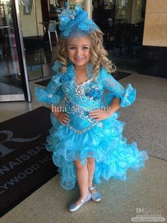 Kids Pageant Dresses Little Girls Cupcake Dress Blue Color Free Bow Detachable Train And Comb Zj