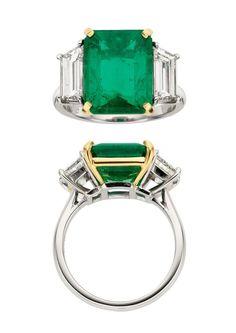 Emerald, Diamond, Platinum Gold, Ring, Piranesi.PhotoHeritage Auctions