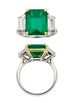 Emerald, Diamond, Platinum Gold, Ring, Piranesi. Photo Heritage Auctions