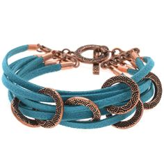 Lake Havasu Bracelet The antique copper plated pewter pieces from TierraCast combined with the turquoise ultra suede gives this bracelet a subtle global marketplace feel.