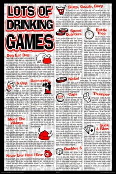"Drinking Games Poster  www.LiquorList.com ""The Marketplace for Adults with Taste!"" @LiquorListcom #LiquorList.com"