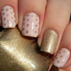 Gold Glitter and Pink Polka Dot Nails. #DIYNailDesigns