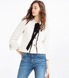 Image result for zara cream tweed coat
