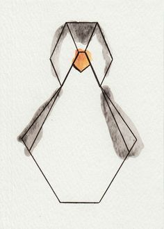 "Aquarelle ""Pingouin"" - Série Origami via 1.2.3 P'tits Choux. Click on the image to see more!                                                                                                                                                                                 Plus"