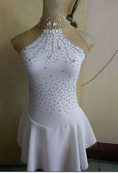 white ice skating dress for competition custom figure skating dresses women