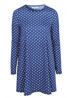 BLUE WITH WHITE DOT SWING DRESS