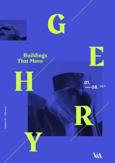 Typographic poster by @adder.speaks for an exhibition at the V&A for architect Frank Gehry. #poster #design #graphic #graphicdesign #typography #architecture #type #text #blue #bright #green #yellow #neon #contemporary #simple #minimal #diagonal #vivid #photography #image #composition #balance #architect #exhibition #art #showusyourtype #typetopia #creativroom #graphicdesigncommunity