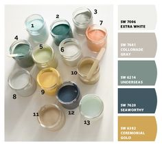 Paint colors from Chip It! by Sherwin-Williams (seaworthy in bathroom w yellow anthro towels; something more robin egg in bedroom; underseas, colonnade gray & white bedding)
