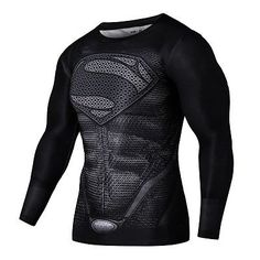 Compression T-Shirt Cycling Jersey Superhero Marvel Comic Superman Cosplay Tops