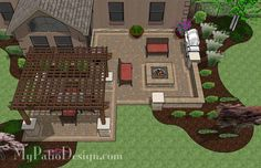 Large Backyard Patio Design with Pergola, Built-In Fire Pit and Seating Wall.  Features 524 Square Feet | Plan No. 1142rr | Download Installation Plan at MyPatioDesign.com