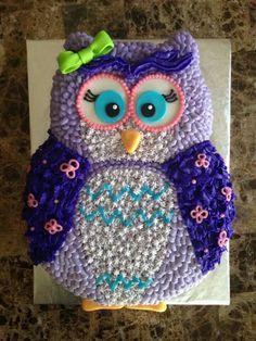 Cute purple owl cake