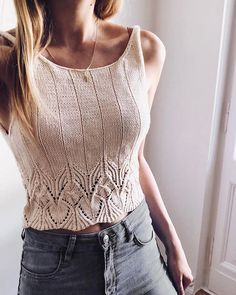 Idea for summer. It is going to be hot🌞 . Knit Fashion, Sweater Fashion, Crochet Bikini, Knit Crochet, Free Crochet, Crochet Pattern, Knitted Tank Top, Lace Knitting, Knitting Designs