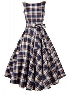 2 Color Round Neck Bowknot Plaid Skater-dress Skater Dresses from fashionmia.com