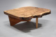 Conoid coffe table by George Nakashima   Rare English oak burl free form top on conoid base   United States, 1974