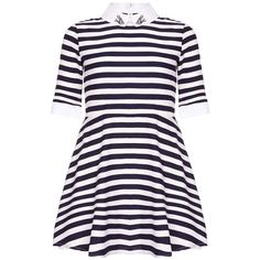 Yumi Girl blue Nautical Stripe Collar Dress ($38) ❤ liked on Polyvore featuring dresses, blue day dress and blue dress