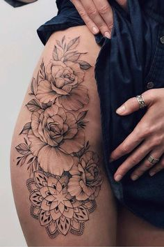 Been thinking about getting a tattoo for a while? We've picked and chosen 23 of our favourite sexy tattoos for women - take a look and get some inspiration. Mandala and Roses Thigh Tattoo Idea Hip Thigh Tattoos, Flower Thigh Tattoos, Rose Tattoos, Body Art Tattoos, Small Tattoos, Back Of Leg Tattoos, Octopus Thigh Tattoos, Back Thigh Tattoo, Tattoo On Leg