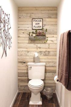 My Actual Brand saved to Reclaimed Wood Decor & reclaimed wood - white shiplap paneling - shiplap accent wall Rustic Bathrooms, Wood Bathroom, Downstairs Bathroom, Diy Bathroom Decor, Bathroom Ideas, Bathroom Faucets, Toilet Room Decor, Bathroom Remodeling, Bathroom Mirrors