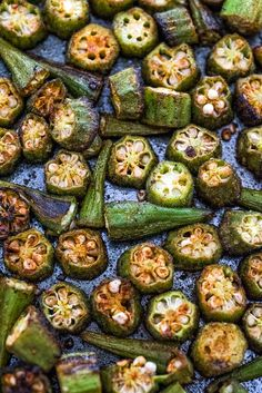 Easy Baked Okra Oven Baked Okra, Oven Roasted Okra, Veggie Side Dishes, Side Dishes Easy, Vegetable Dishes, Oven Recipes, Vegetable Recipes, Cooking Recipes, Easy Recipes