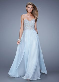 Long Strapless Sweethear Beaded Embellished Bodice Prom Dress