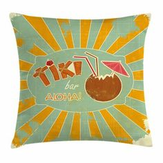 Ambesonne Tiki Bar Decor Throw Pillow Cushion Cover, Vintage Design Exotic Cocktail Aged Look Aloha Fun Party, Decorative Square Accent Pillow Case, 16 X 16 Inches, Orange Almond Green Brown Outdoor Cushion Covers, Outdoor Throw Pillows, Tiki Bar Decor, Decorative Cushions, Velvet Pillows, Throw Pillow Sets, Design, Indoor Outdoor, Office Playroom