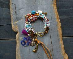Multi strand bracelet hippie bohemian bracelet by BeadStonenSkin, €46.77