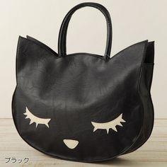 Japan cat poohcah tote bag kawaii harajuku girl BLACK #streetstyle