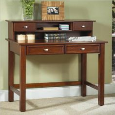 Home Styles Hanover Student Desk and Hutch, Cherry Finish. Hanover student desk and hutch. Made of poplar solid hardwood and cherry veneer. The unit has four drawers for storage. Available in cherry finish. Mesa Home Office, Office Table, Home Office Desks, Home Office Furniture, Kids Bedroom Furniture, Table Furniture, Furniture Ideas, Furniture Design, Cherry Desk