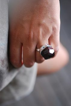 Renaissance Raw Garnet Ring by dollybirddesign on Etsy