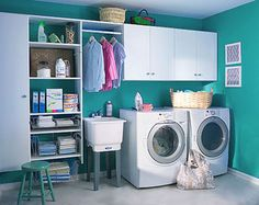 How many of us have the dull and dreary laundry room? I say make the spaces you work in bright and cheery.