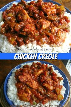 Chicken creole is an easy, delicious dish your family will love. Wonderful for weeknights or anytime. Chicken creole is an easy, delicious dish your family will love. Wonderful for weeknights or anytime. Chicken Creole Recipe, Yum Yum Chicken, Cajun Chicken And Rice, Chicken Recipes, Creole Cooking, Cajun Cooking, Cajun Food, Cooking Steak, Cajun Dishes