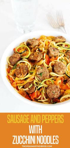 Sweet and spicy Italian sausage with peppers, onions, and zucchini noodles in a simple garlic tomato sauce. A quick and easy dinner that the entire family will love! Visit for more simple, fresh, and family friendly meals. Zucchini Noodle Recipes, Zoodle Recipes, Spiralizer Recipes, Zucchini Spirals Recipes, Stuffed Zucchini Recipes, Vegetarian Zucchini Recipes, Pasta Recipes, Healthy Recipes, Diet Recipes