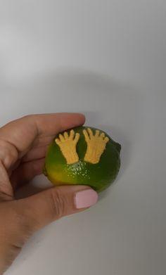 Yellow handmade tiny doll gloves