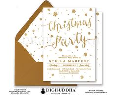 CHRISTMAS PARTY INVITATION Gold Glitter Snowflakes Holiday Card White + Gold Ready Made Cards or DiY Printable Christmas Invite - Stella style. Gold shimmer envelopes and matching envelope liners also available. Only at digibuddha.com