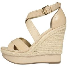 G By Guess Shoes, Lasino Wedge Sandals ($36) ❤ liked on Polyvore featuring shoes, sandals, wedges, heels, sapatos, wedge sandals, ankle tie sandals, ankle strap sandals, ankle tie wedge sandals and wedge heel sandals
