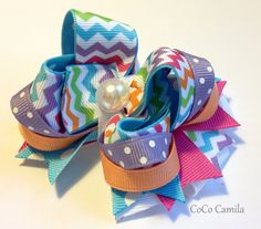 Chevron Girl Hair Bow Clip  Sherbet Rainbow by cococamila on Etsy, $8.00