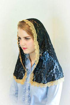 Evintage Veils~ Ebony and Gold Lace Vintage Inspired Mantilla Chapel Veil: Classic D Shape