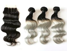 Custom Ombre Grey/Gray/Silver Highest Quality Remy Virgin Brazilian Human Hair Extension Weave Weft 3 Bundles With Lace Closure    (Customized weft and closure any length and color available, please inquire)    All Hair Extensions in my shop can be customized to any hair extensions method including:  Clip In's  Tape In's  Pre-Bonded Fusion  Micro-Bead  Weaving Wefts    Product: Ombre Human Hair Weave Bundles With Closure  Material: Human Hair  Brand: Hollywood Glam Boutiq  Color Type…